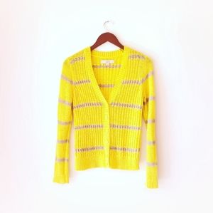 LOFT Woven Croceth knit cardigan lemon yellow